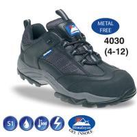 Black Leather/Nylon Non Metal Composite Safety Trainer S1 4030